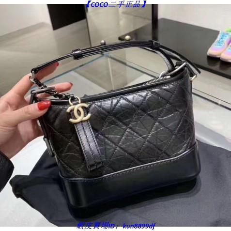 [QP][COCO มือสองของแท้] CHANEL A91810 gabrielle hobo small Chanel black leather hobo bag crossbody bag