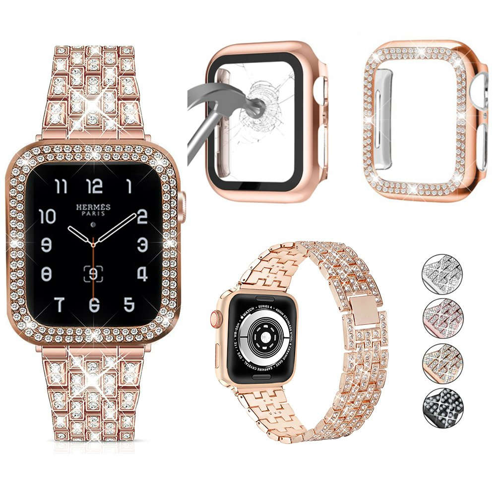 For Apple Watch Band 38mm 40mm 42mm 44mm iWatch Series 6 5 4 3 2 1 Women Bling Metal Strap with Diamond Glass Screen Cov