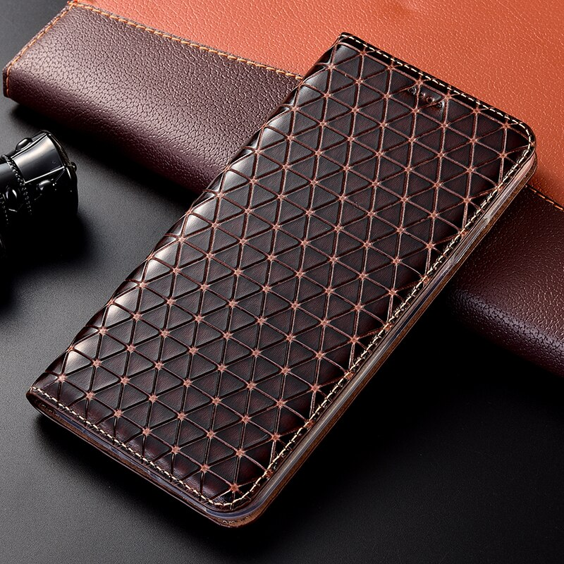 Genuine Leather Grid Case For Samsung Galaxy A3 A5 A6 A7 A8 A9 Pro Plus 2015 2016 2017 2018 Stand Wallet Flip Cover Capa