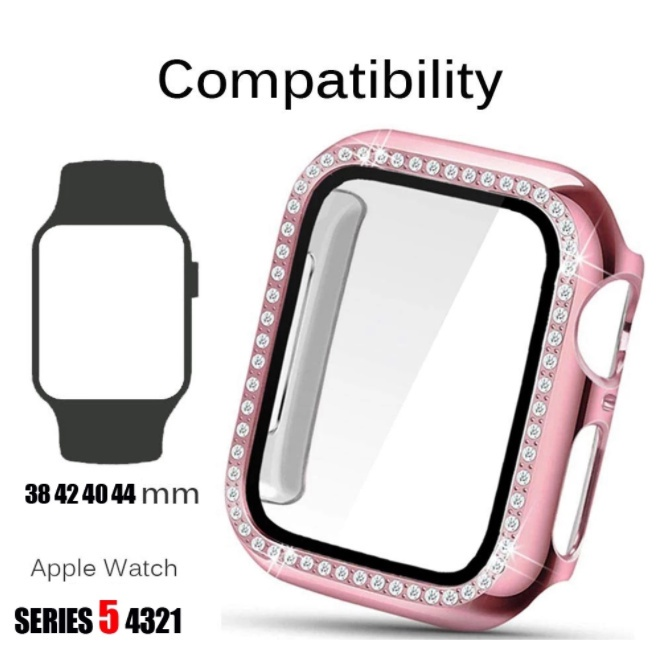 Fashion Protective Case For Apple Watch 44/40/42/38mm All-Inclusive Bumper Single Row Of Diamonds Frame iWatch Case Accessories