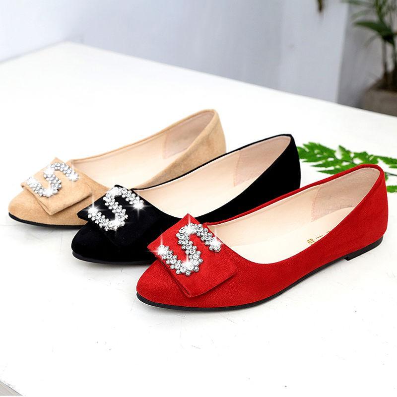 รองเท้าผู้หญิง รองเท้าคัชชูหัวแหลม👣รองเท้าส้นแบนไสตล์เกาหลี  รองเท้าทำงาน รองเท้าคัทชูหัวแหลมถูกที่สุด