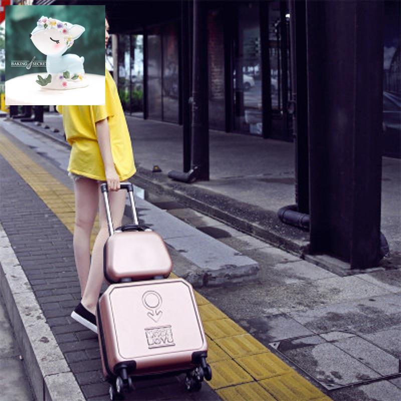 กระเป๋าเดินทางขนาดเล็กกระเป๋าเดินทางหญิงกระเป๋าล้อลาก 18 นิ้วเวอร์ชั่นเกาหลี กระเป๋าเดินทางมินิน่ารัก 16 ใบกล่องแม่เด็ก