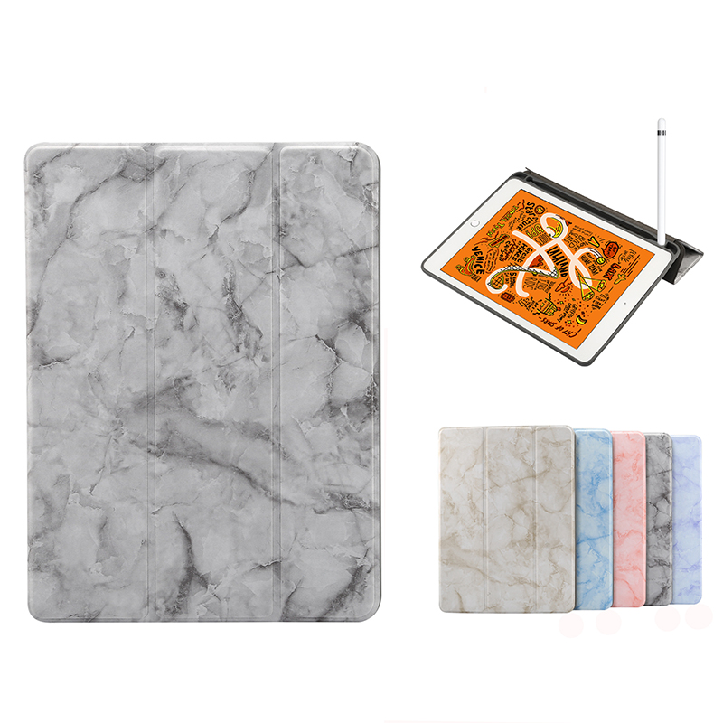 Leather Case iPad Air Pro 10.5 2019 Mini 5 4 Air 2 9.7 2017 2018 Flip Cases Apple Pencil Holder Marbling Standable Cover