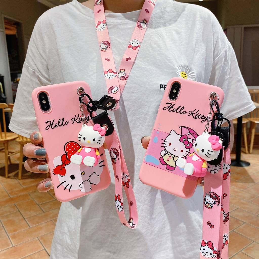 Samsung A8 Plus 2018 A6 Plus 2018 A9 Pro 2018 A9 Star Lite 2018 A9 Star Pro Cute Bow Hello Kitty Soft Case + Lanyard+ Doll