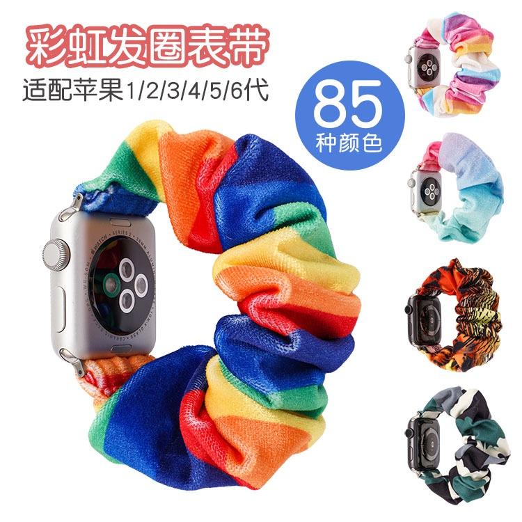 เคสนาฬิกา applewatchสายรัดผม Amazoniwatchแอปเปิ้ล56รุ่นพิมพ์ยืดหยุ่นทอสายนาฬิกาสายรัดลำไส้ใหญ่applewatch
