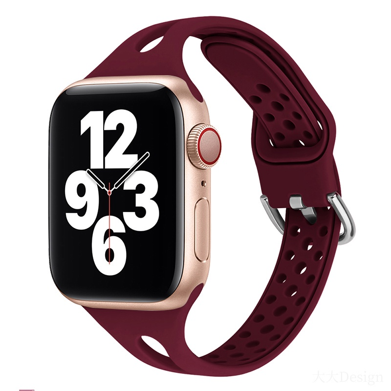 Hollow Thin Band Soft Silicone Sport Watch Strap for Apple Watch Band 42mm 38mm 40mm 42mm Iwatch Series 6 5 4 3 2 1 Colorful Bracelet Replacement Bands Accessories