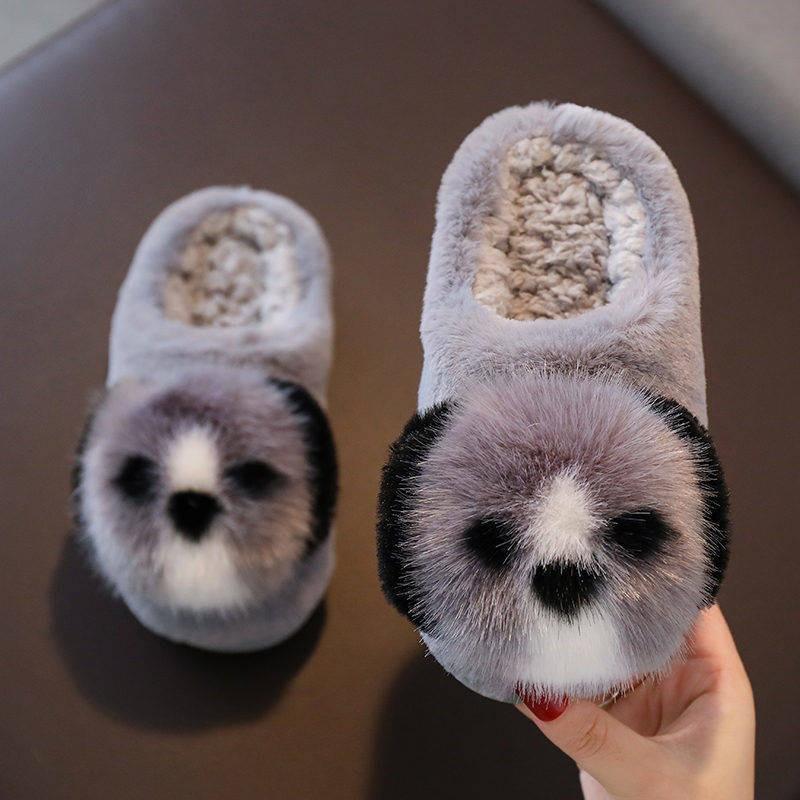 รองเท้าคัชชู ♩รองเท้าแตะเด็กสำหรับเด็กชายและเด็กหญิงกันลื่นเด็กวัยกลางคนรองเท้าแตะผ้าฝ้ายฤดูหนาวสำหรับเด็กการ์ตูนสามมิติ