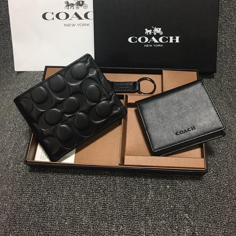 พร้อมส่ง Coach 74064 กระเป๋าสตางค์ใบสั้น พร้อมส่ง กระเป๋าสตางค์ ผู้ชาย ความโล่งอก