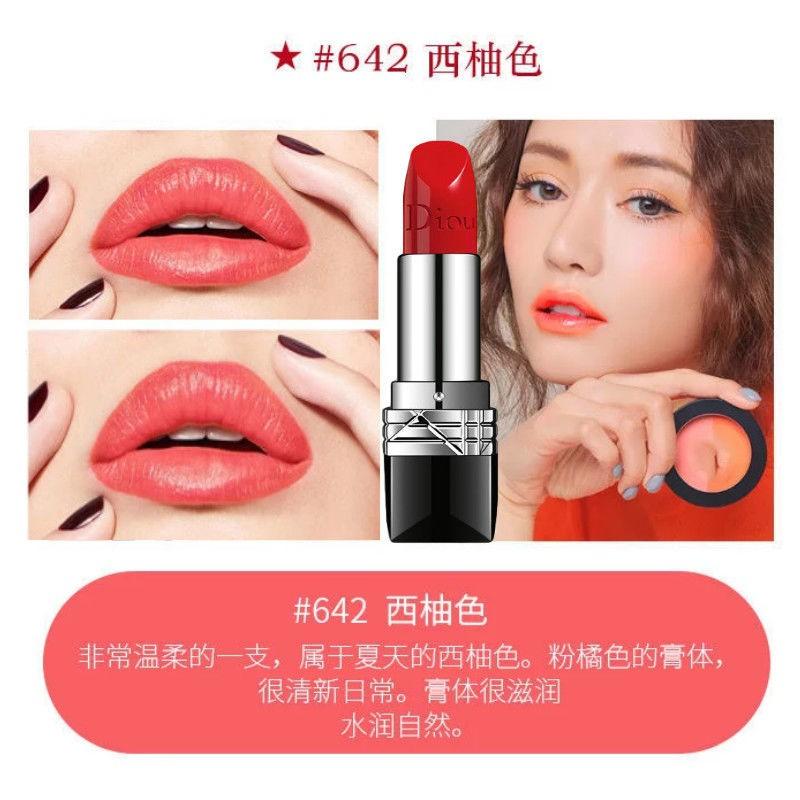 ลิปสติก Dior○Brand Lipstick Big Brand Dior Yafei 999 Audi Waterproof Did Not Fade Dip cup moisturizing set gift box