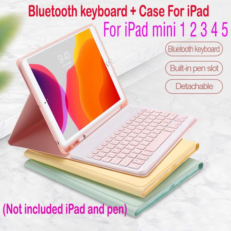 ღღღღiPad mini Case Keyboard For Apple iPad mini 1 2 3 4 5 Wireless Bluetooth keyboard Cover Cases casing with Pencil Hol