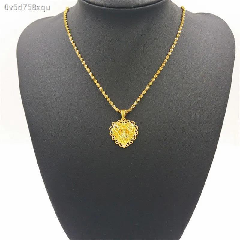 ราคาถูก ✉ฮ่องกงแท้สร้อยคอทองคำแท้พันฟุต Women Fashion all-Match Peach Heart Pendant จี้ทองคำบริสุทธิ์สำหรับแม่และภรรยา