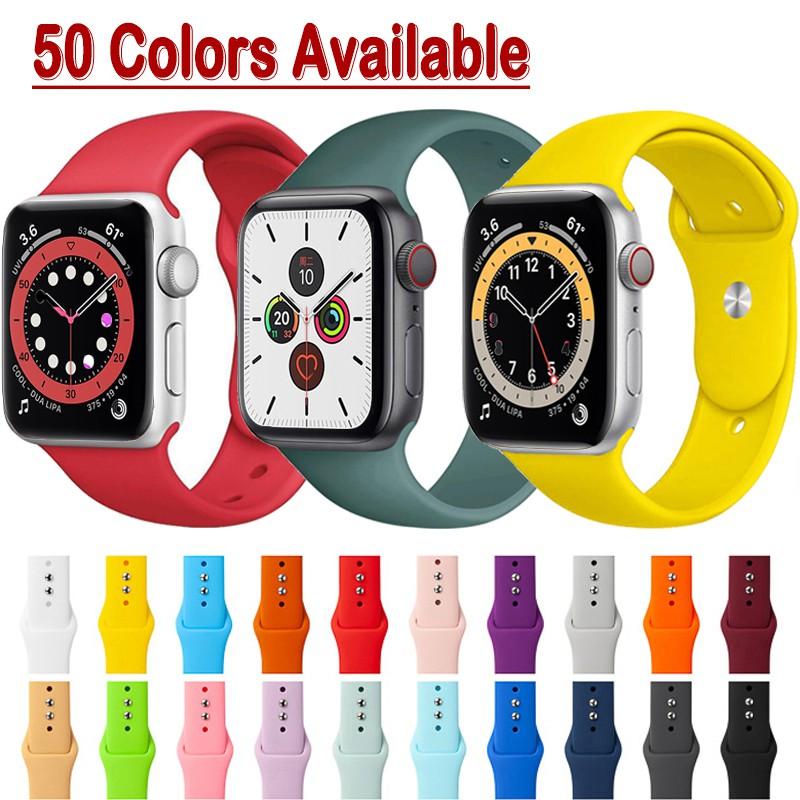 สายนาฬิกาข้อมือ Apple Watch 6 SE 5 Band 38มม 42มม 40มม 44มม  Sport Silicone Strap for iWatch Series 6 5 4 3 2 1