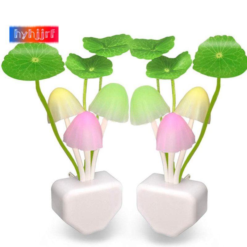 Creative Light-Sensor 7 Color LED Mushroom Night Light Romantic Plug Light Lamp