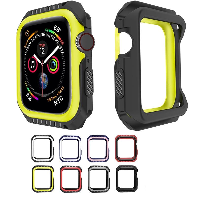 เคสซิลิโคนป้องกันรอย Apple Watch 3 2 1 42MM 38MM Full Cover Protection Silicone+PC Hard Armor Case iWatch 4 5 40MM 44MM Watch Frame Full Protective Bumper Cover Case