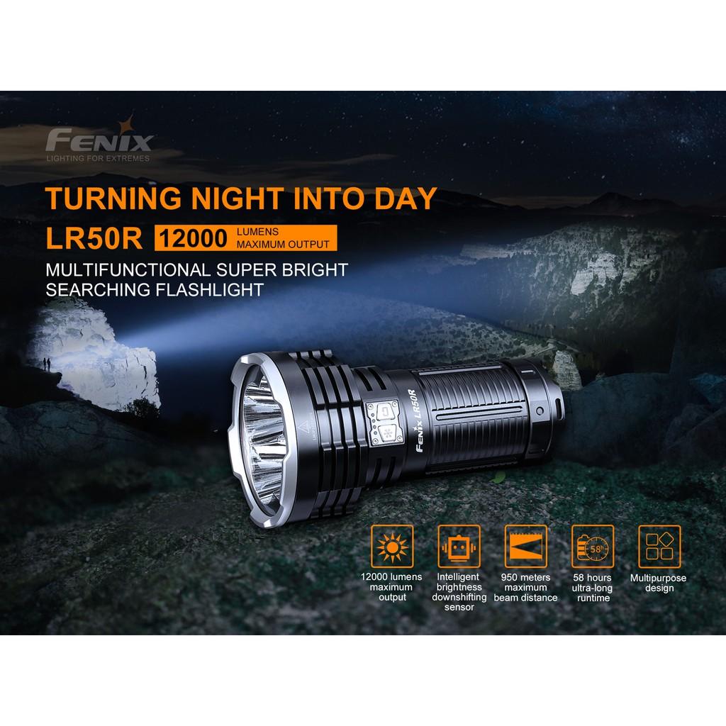 ไฟฉาย Fenix LR50R MULTIFUNCTIONAL SUPER BRIGHT SEARCHING FLASHLIGHT  12000lm สินค้าตัวแทนในไทยประกันซ่อมสามปี