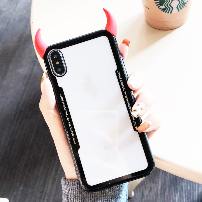 164aa2beaac4e Huawei Honor 8X Honor 9 10 Lite Nova 4 2i 3e 3 3i Y7 Prime Y9 Y6 2018 Y9 Y7  2019 Phone Case Devil Horn Clear Back Cover