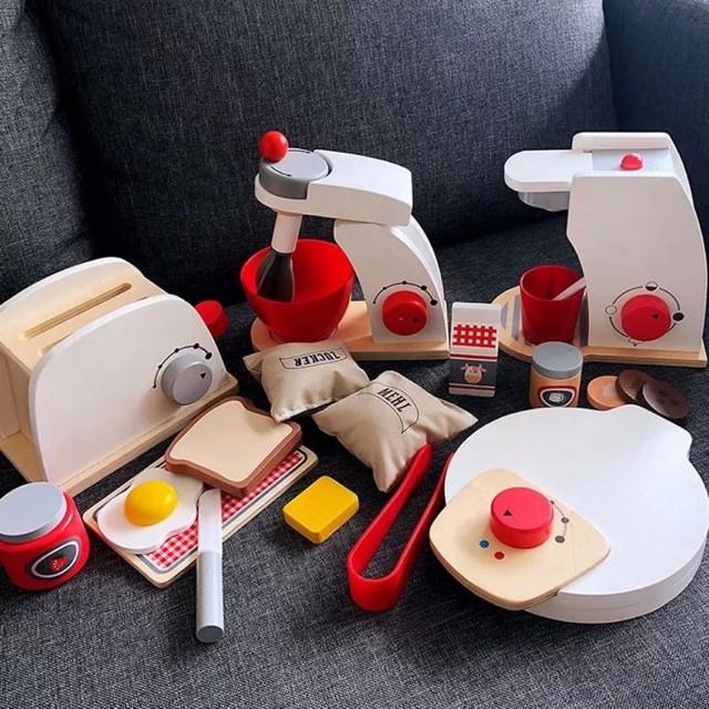 ♂❈ครัวไม้จำลองสำหรับเด็ก เครื่องทำขนมปังไม้ เครื่องชงกาแฟ เครื่องทำแพนเค้ก มิกเซอร์ ของเล่นบ้าน