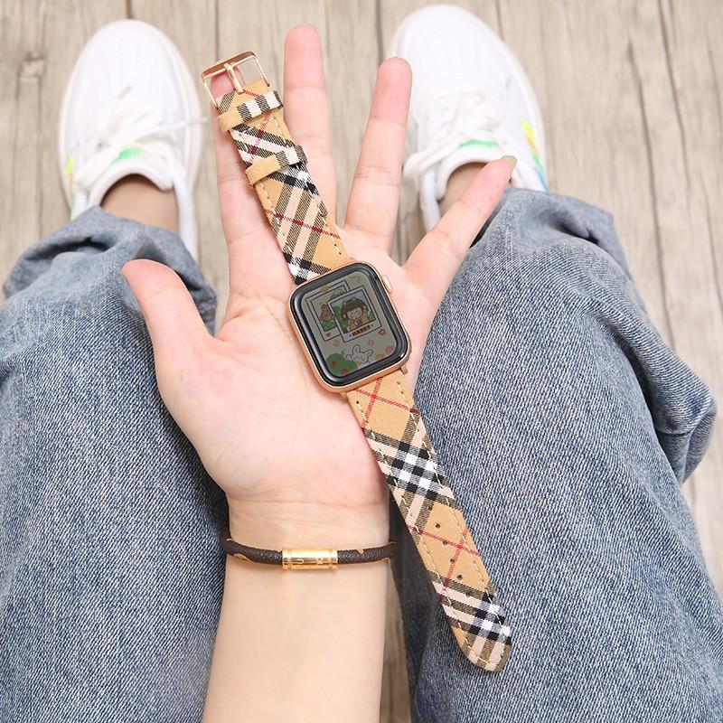 applewatch สายบังคับiwatch6/SEสายapple watch5สายหนังแท้ผู้ชายและผู้หญิงสำหรับ Appleiwatch4/3/2รุ่นทั่วไป38mm42seriesสายร