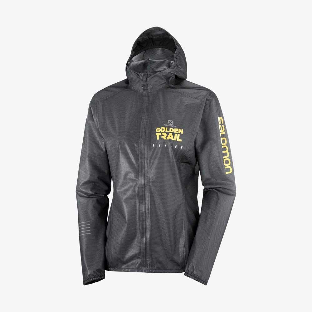 SALOMON LIGHTNING RACE WP JKT W BLACK/WH/AUTUMN - เสื้อกันฝนผู้หญิงสำหรับวิ่งเทรล