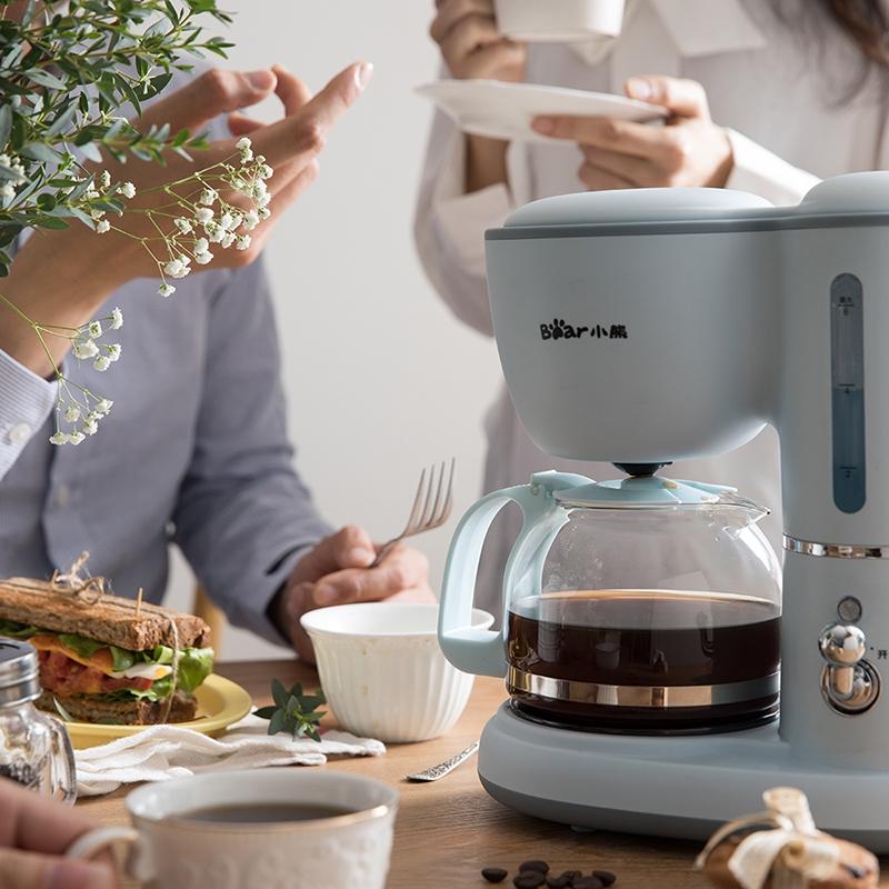 เครื่องทำกาแฟBear เครื่องชงกาแฟ American Home ขนาดเล็กแบบหยดอัตโนมัติมินิเครื่องชงกาแฟดอกไม้กาน้ำชาแบบ dual- ใช้เครื่องด