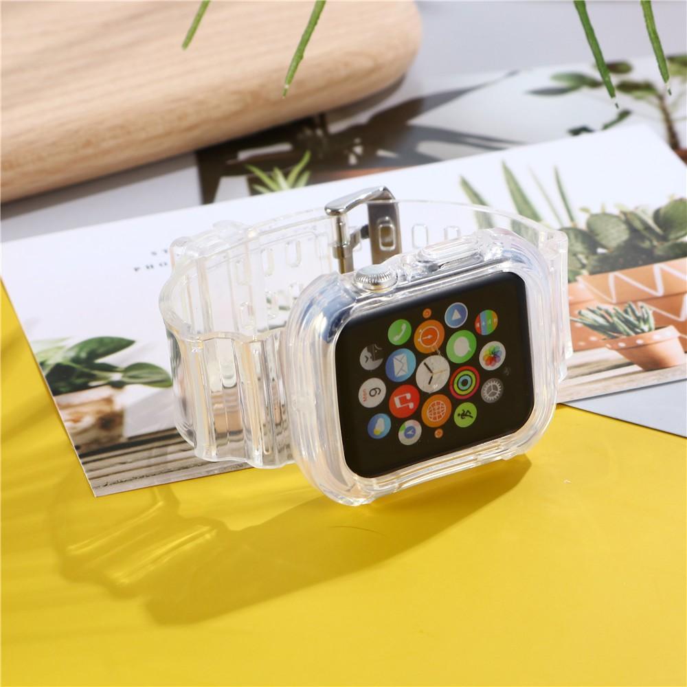 สาย AppleWatch สายนาฬิกา Apple Watch Series สายรัดใส 6/5/4/3/2/1, Apple Watch SE หัวเข็มขัดตัวเดิมของ Apple เข็มกลัดผีเส