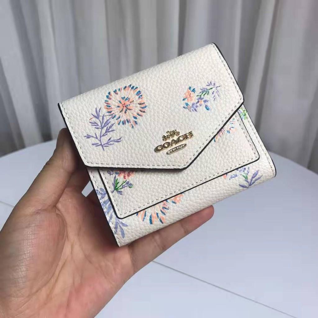 Promotion - coach women wallet F69849 กระเป๋าสตางค์ใบสั้ หนังแท้กระเป๋าสตางค์ กระเป๋าเงินบัตร กระเป๋าสตางค์ใบสั้น พับเก็บได้