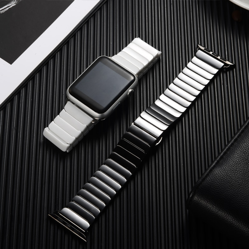 Classic Luxury Ceramic Band For Apple Watch 44mm 42mm 40mm 38mm iwatch Series SE 6 5 4 3 2 Business Butterfly Buckle Strap Wristband