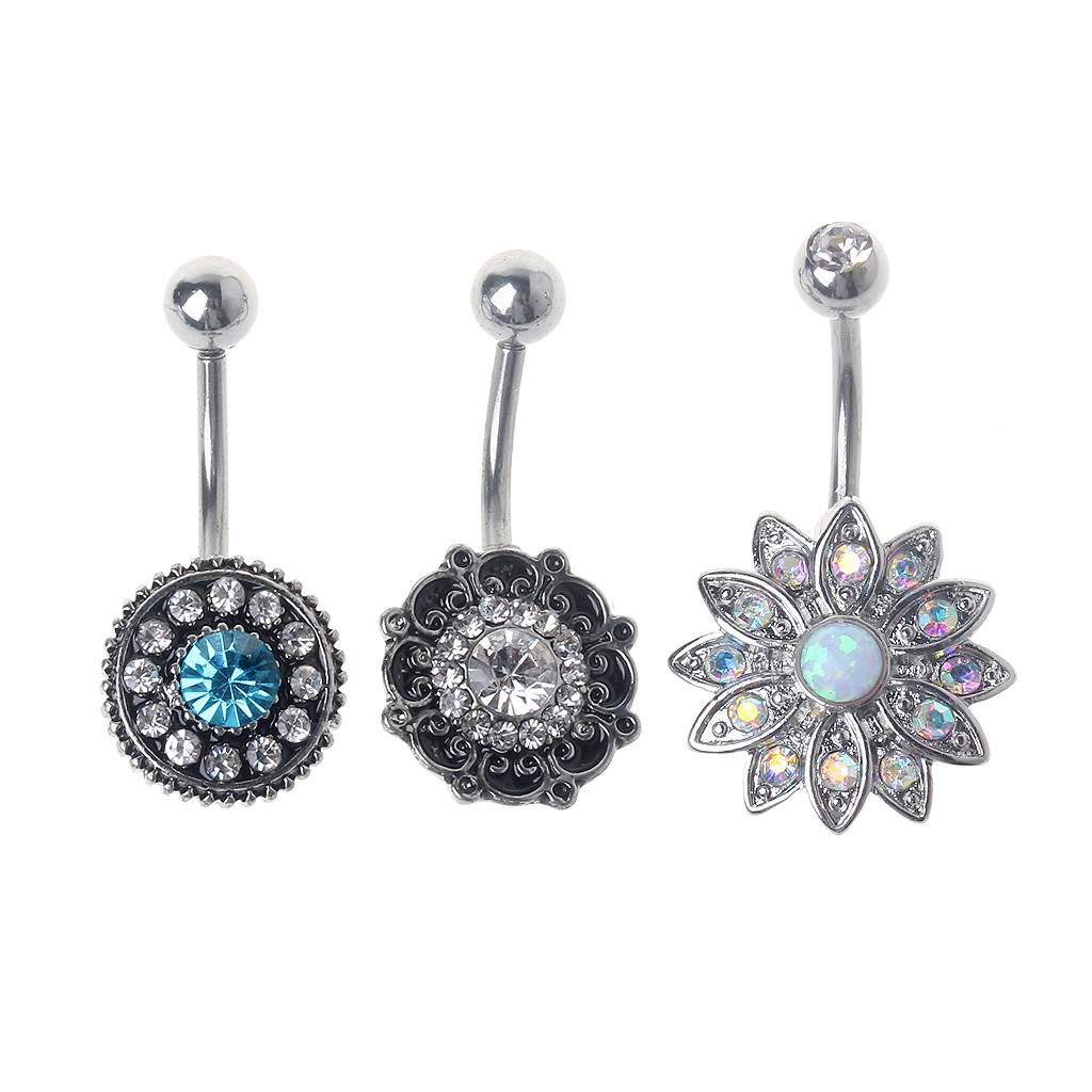 J Shiny Round Shape Double Cz Gem Belly Button Navel Rings Set Body Jewelry