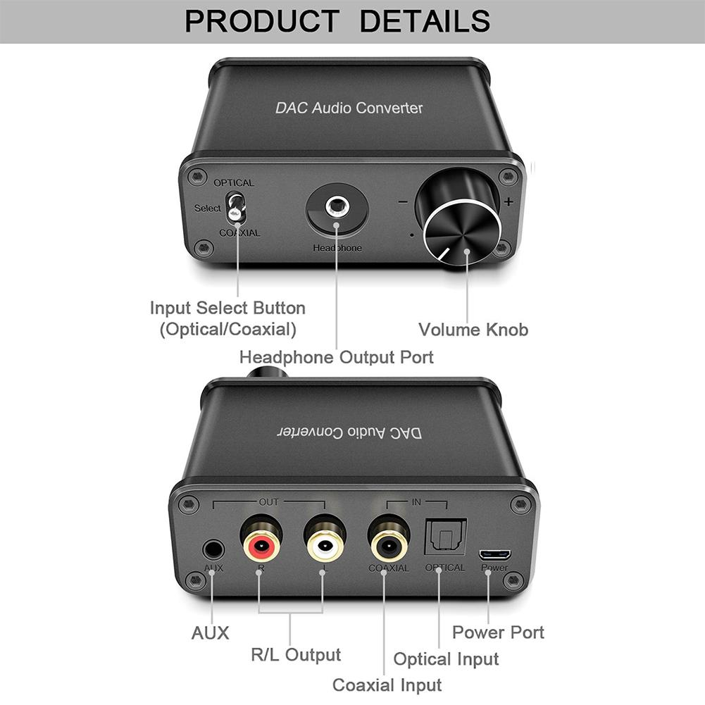 Mavis Laven HDMI Audio Extractor Stereo Audio Headphone Amplifier Output 2 x RCA Headphone