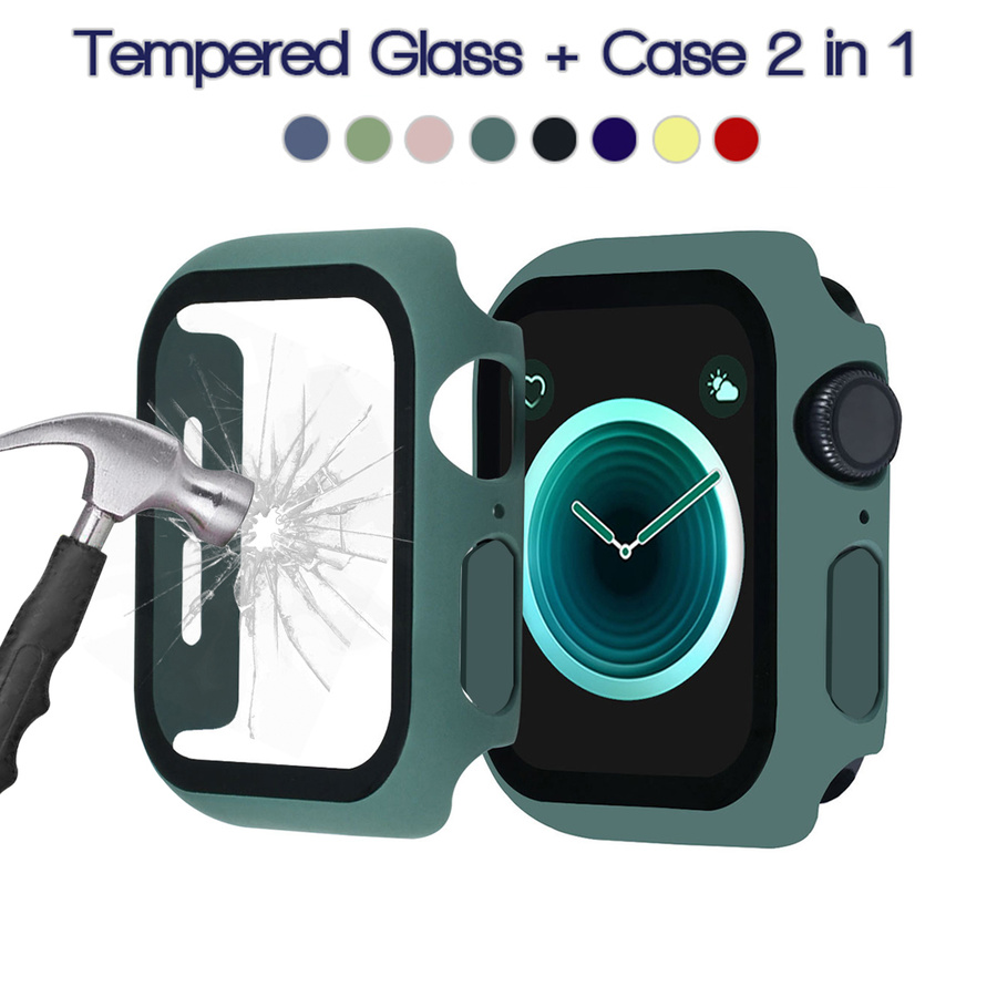 Cover with Tempered Glass GlassFor Apple Watch case 44mm 40mm iWatch 42/38mm bumper Screen Protector Accessories for applewatch serie 5 4 3 2 SE 6