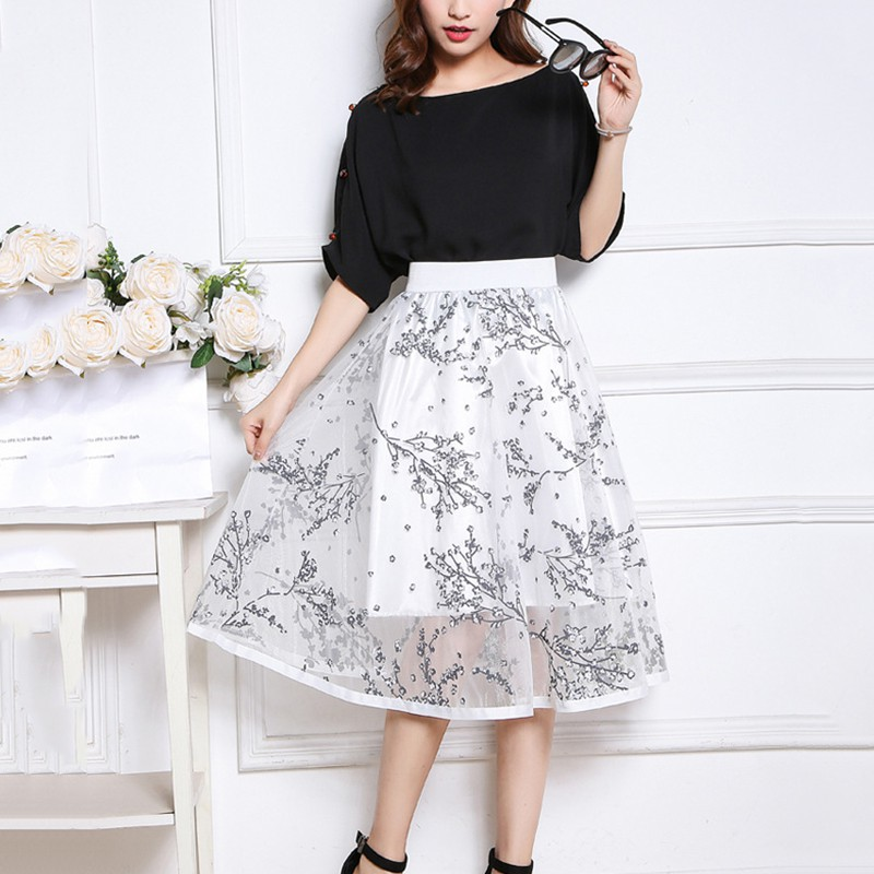 523ecab5cb2fe Special Price 1*Summer Women Mesh Skirt Fashion Floral Embroidered ...