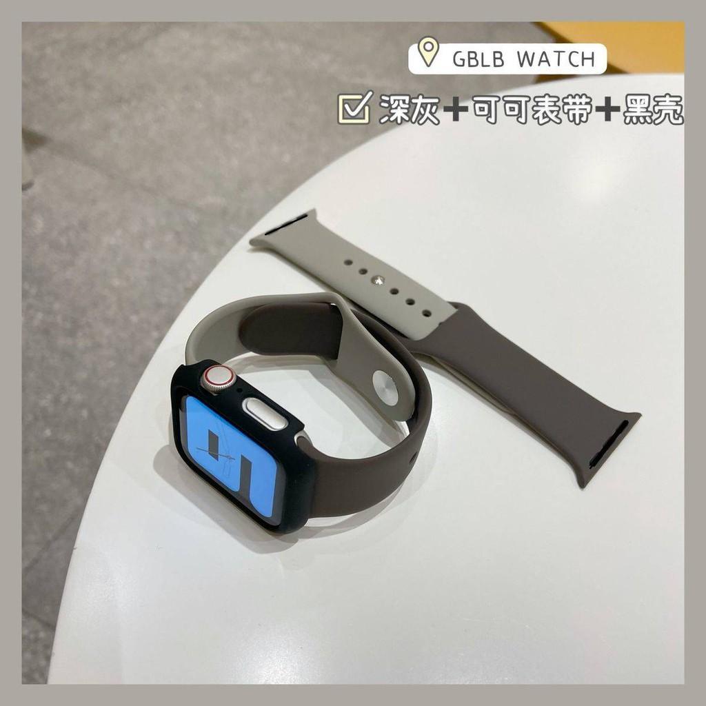 💥 สาย applewatch 🔥 เหมาะสำหรับสาย Apple Watch Applewatch สายซิลิโคนสีลูกกวาดพร้อมฟิล์มเปลือกรุ่น iwatch 6 / SE / 5/4