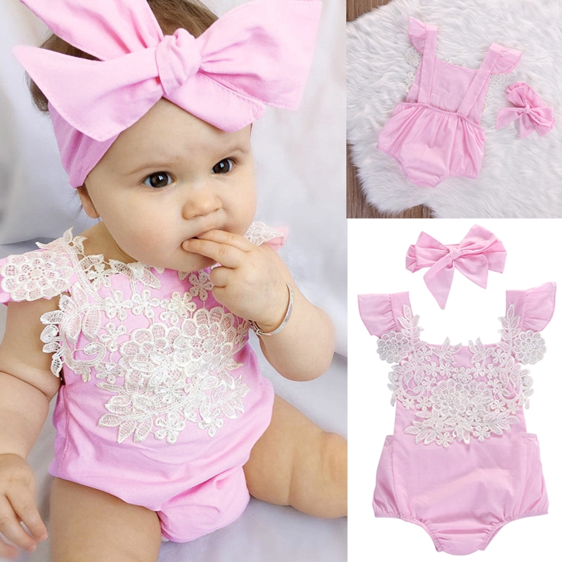 Swyss Infant Baby Girls Floral Lace Romper Cute Doll Collar Sleeveless Bodysuit Jumpsuit Outfits Clothes