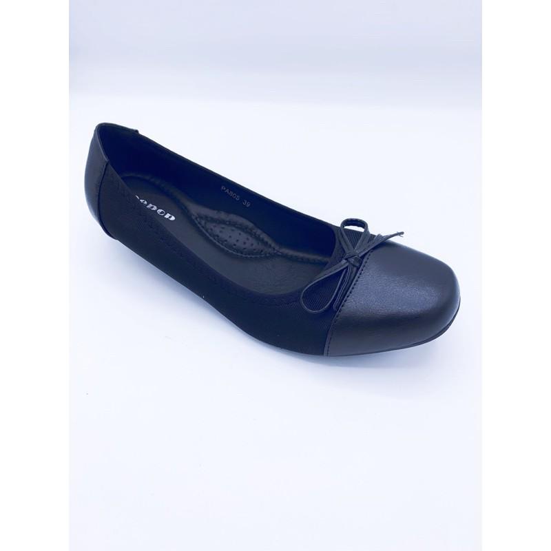 Leepop รองเท้าคัชชูหัวตัดส้นเตารีด สีดำ ไซส์ 36-40 สินค้าพร้อมส่ง!