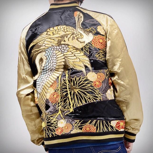 SUKAJAN แบรนด์แท้ญี่ปุ่น Japanese Souvenir Jacket แจ็คเกตซูกาจันลาย  Golden Crane