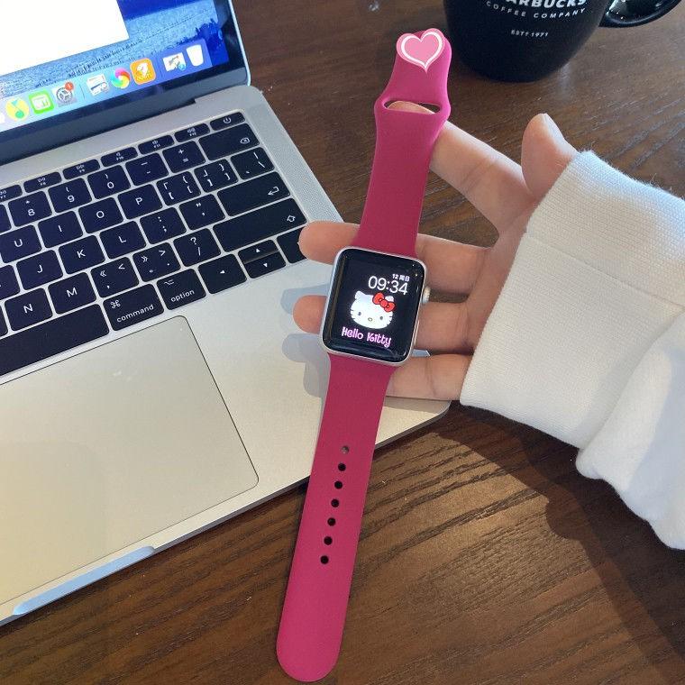 สาย applewatch iwatch5 dark rose red strap applewatch1234 generation apple watch with silicone sports strap female