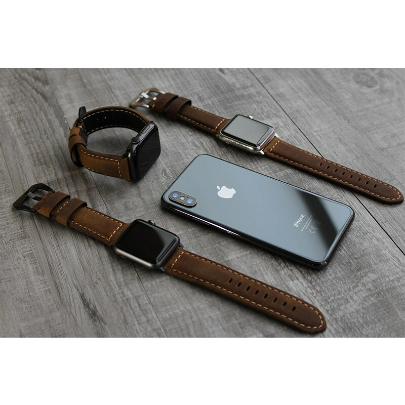 Apple watch series 6, 5, 4, 3, 2, 1, 100% strap, Iwatch brown leather strap, 42mm, 44mm, 38mm and 40mm strap
