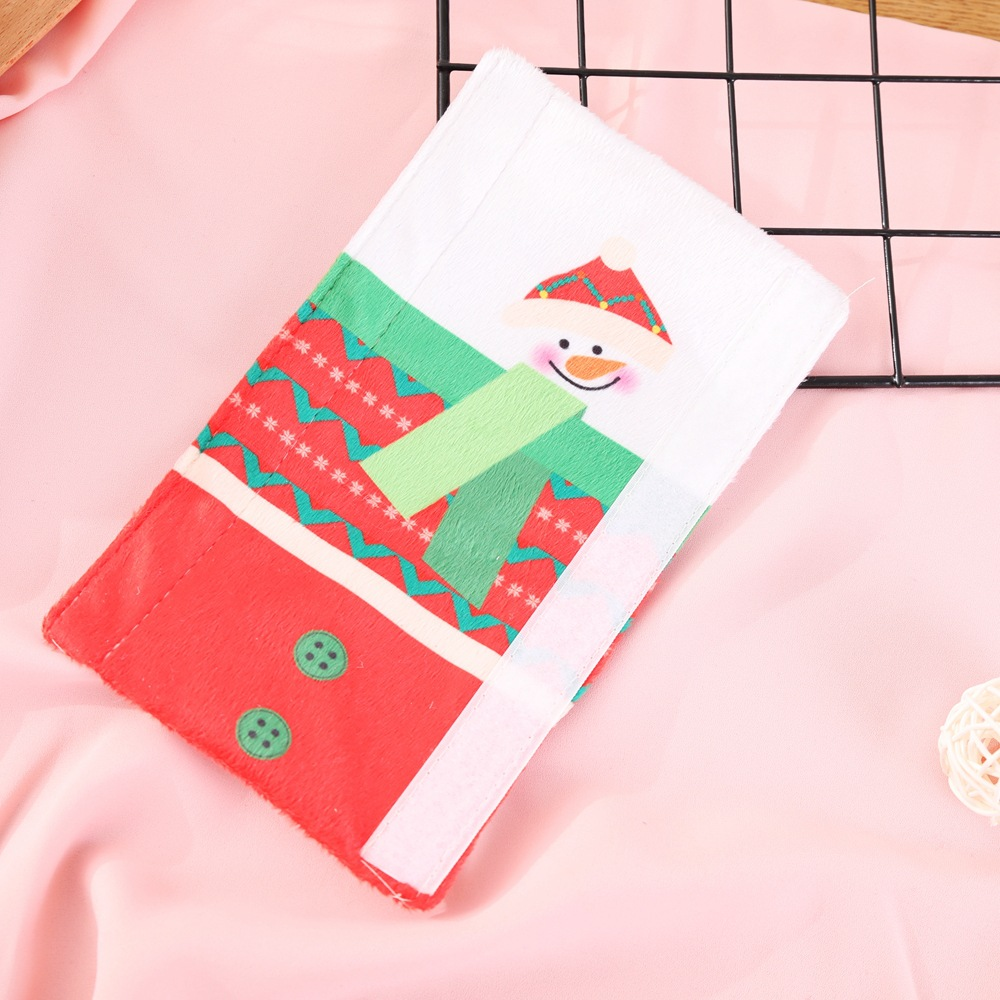 คริสต์มาสเตาอบไมโครเวฟถุงมือ มือจับตู้เย็นป้องกันไฟฟ้าสถิตย์ ถุงมือสองประตูตู้เย็นคริสต์มาสCOD