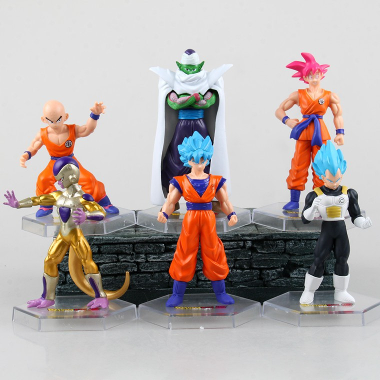 6Pcs Dragonball Z Anime Character Goku Piccolo Action Figure Toy Model Set