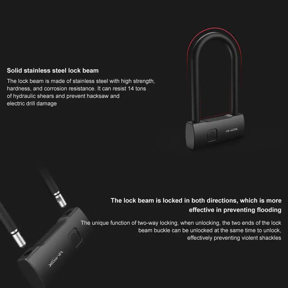 Xiaomi Areox Smart Fingerprint Waterproof Durable U-Lock Keyless Quick Unlock