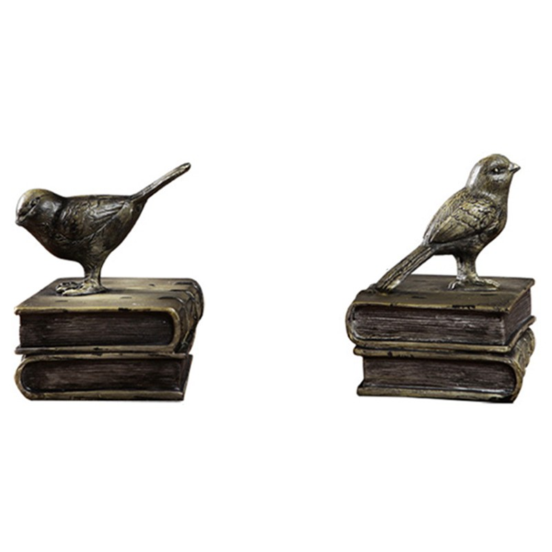 Imitation Wood to Make Old Bird Books Rely on Euroean Style Antique Study Retro Bookends Ornament0