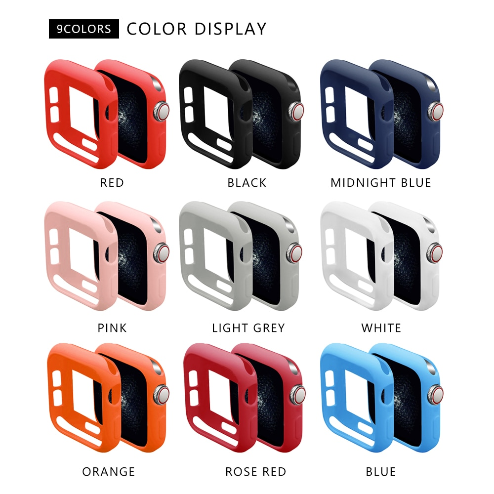 Soft Silicone Case for Apple Watch Band Series 6 SE 5 40MM 44MM IWatch Bracelet Series 1 2 3 4 Protection 42mm 38mm Strap Accessories