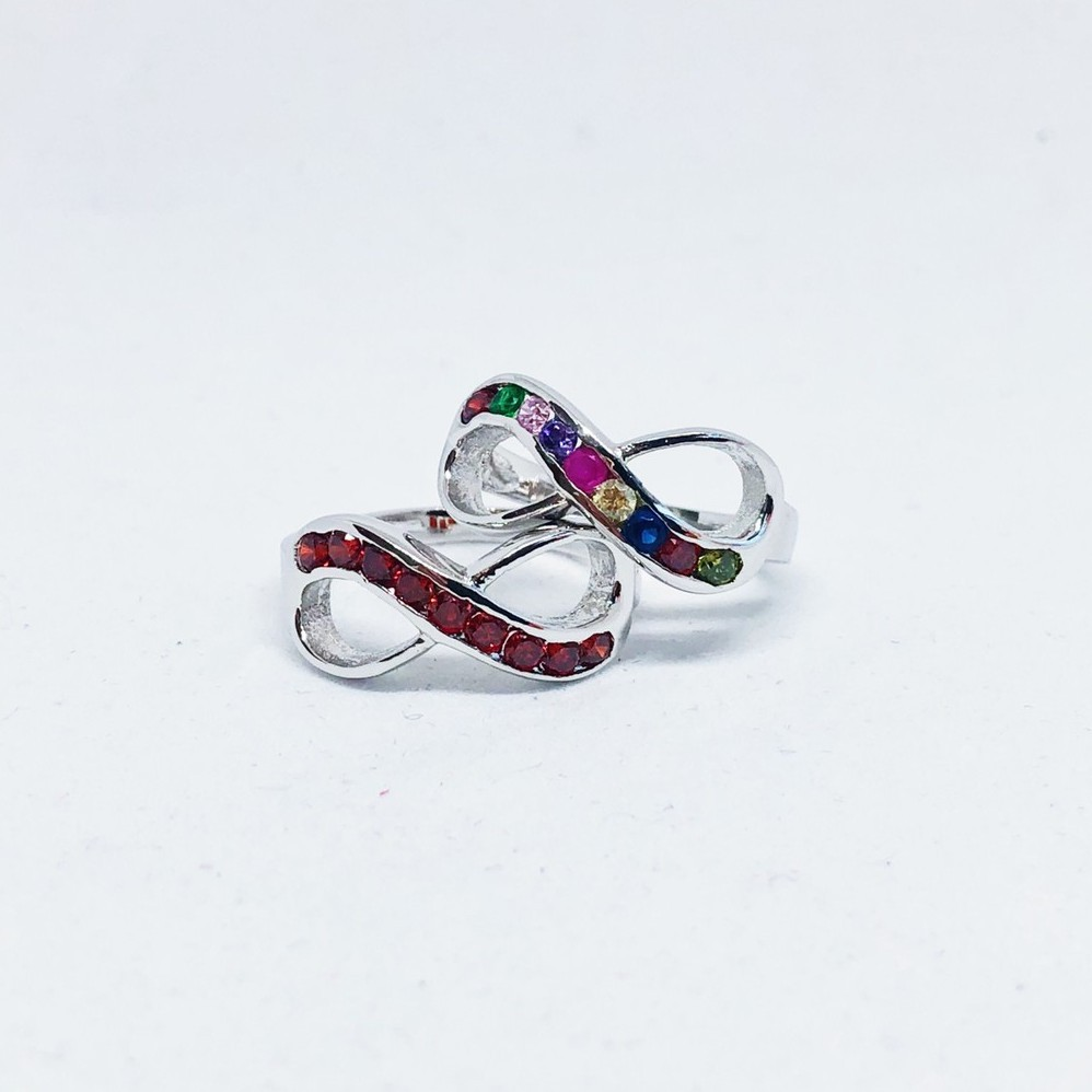 แหวนอินฟินิตี้ พลอยหลากสี เพชร cz ชุบทองคำขาว ราคาพิเศษ