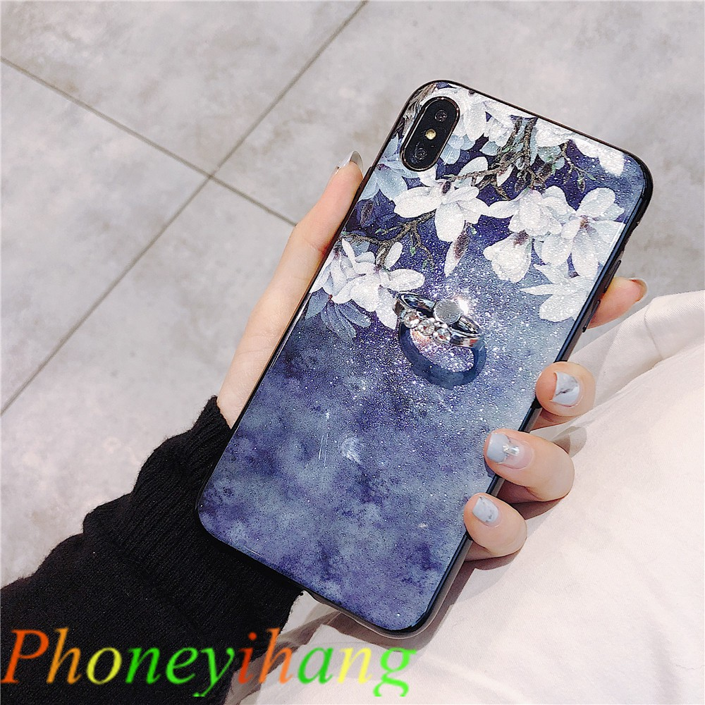 Samsung A6 2018 J7 J3 J2 Pro 2018 Glitter Magnolia Gardenia Case with Ring Stand GWX9