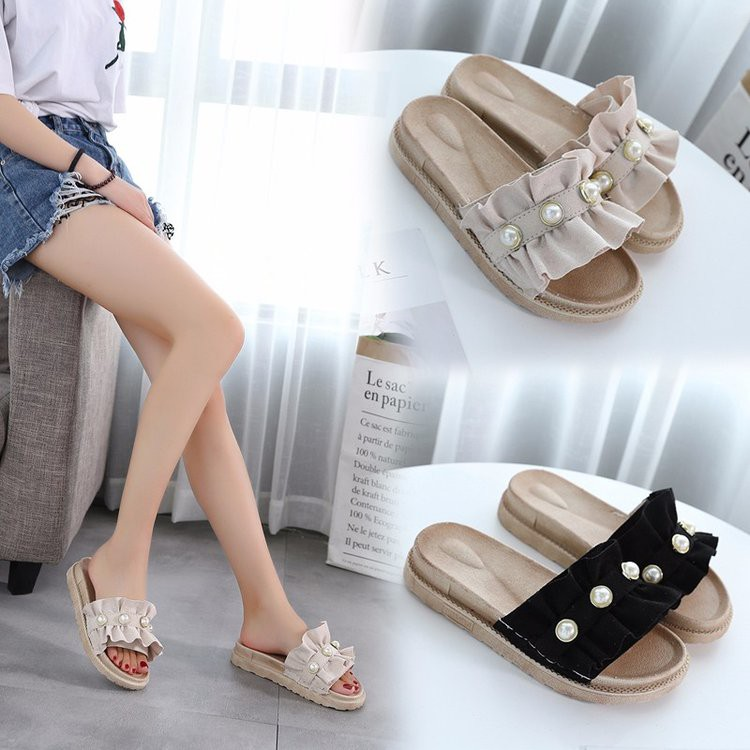 27b58aa38b336 Sandals and slippers female summer 2018 new muffin thick bottom word drag  Korean fashion wear pearl