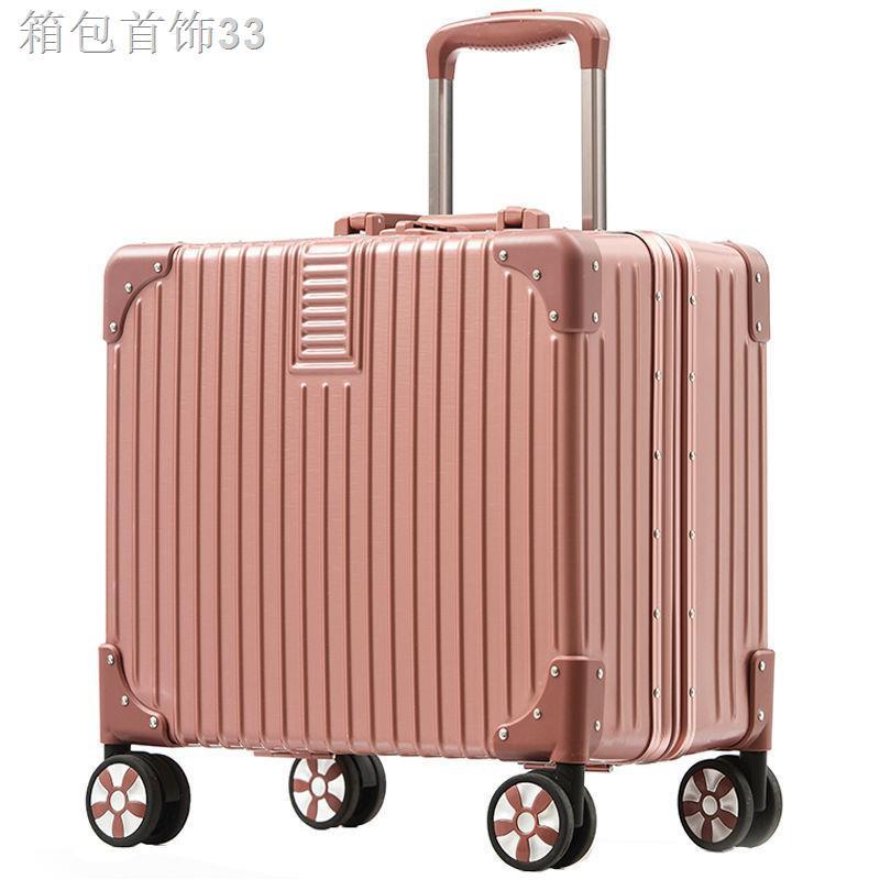 ♚กรอบอลูมิเนียมกระเป๋าเดินทางใบเล็กหญิง รถเข็นขึ้นเครื่องขนาดเล็ก 18 นิ้วกล่องรหัสผ่านน่ารัก 20 กระเป๋าเดินทางระยะสั้นข