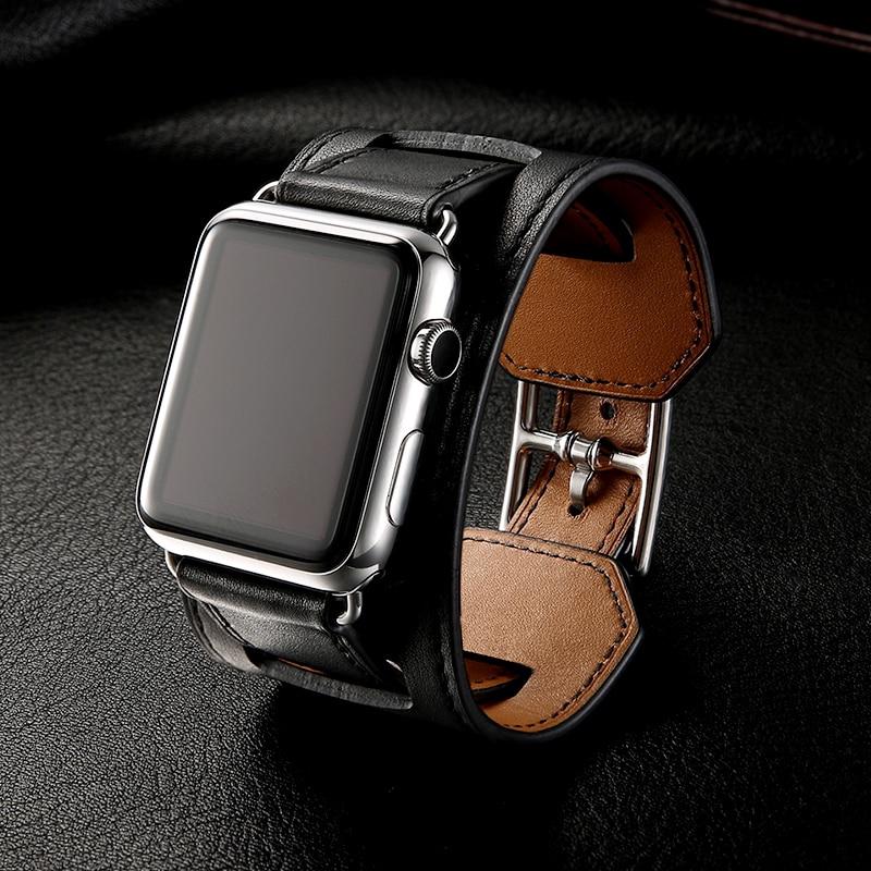 สายนาฬิกาข้อมือหนังวัวแท้คลาสสิกสําหรับ Apple Watch 42 มม. 38 มม. Band Series 5 4 3 2