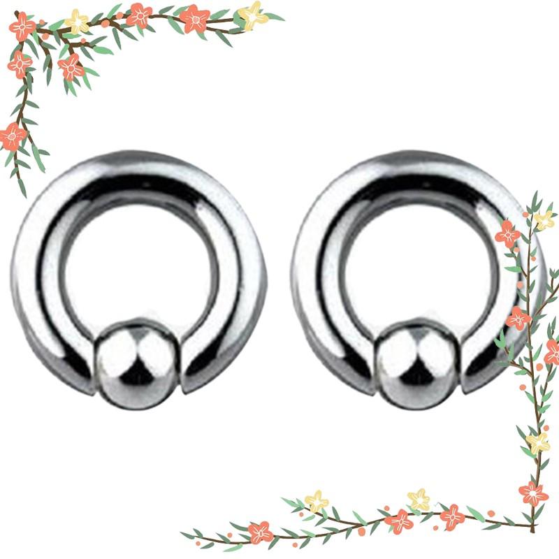 Pair of Steel Captive Bead Ring CBR Earrings 20,18,16,14 Gauge