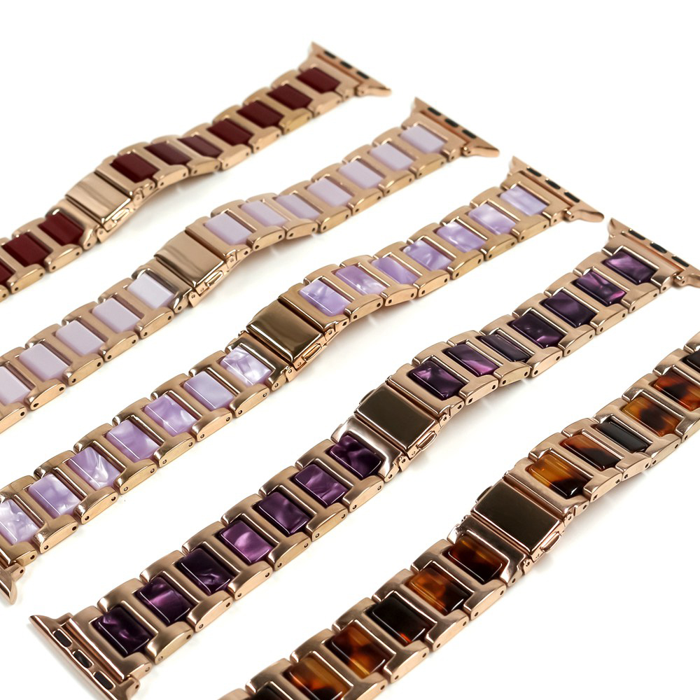 Luxury Metal + Resin Watch Band For Apple Watch SE 6 5 4 44mm 40mm Bands For iWatch Series 3 2 38mm 42mm Steel Business Strap