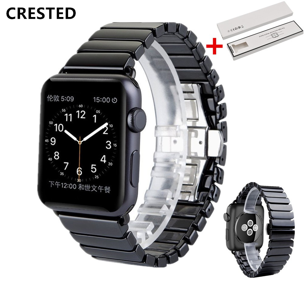 BOX+Ceramic Strap For Apple Watch Band 44mm/40mm iwatch band 42mm/38mm correa Link Bracelet apple watch series 5 4 3 se